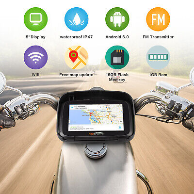 "5"" Android 6.0 Bluetooth Motorcycle Car GPS Navigation 16GB SAT NAV Update Maps"