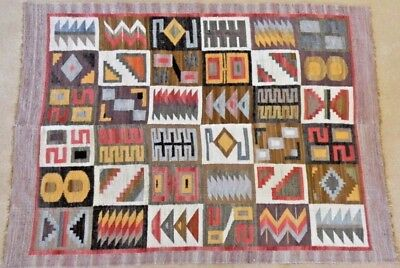 PERU ANDES RUG / TAPESTRY, Back Strap Hand Woven, Incan Calendar Designs, 5 by 4