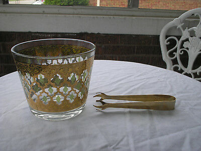 Vintage Glass Ice Bucket Heavy Gold And Green Diamon Pattern Wi Gold  Ice Tongs