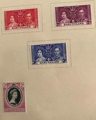 Basutoland postage stamps King George Vl Elizabeth l and ll lot of 4 MLH