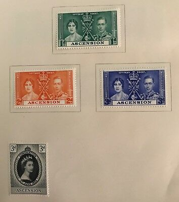 Ascension  postage stamps King George Vl Elizabeth l and ll lot of 4 MLH