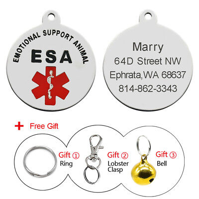 Personalized Customized ESA Pet Cat Dog ID Tag Emotional Support Animal Therapy