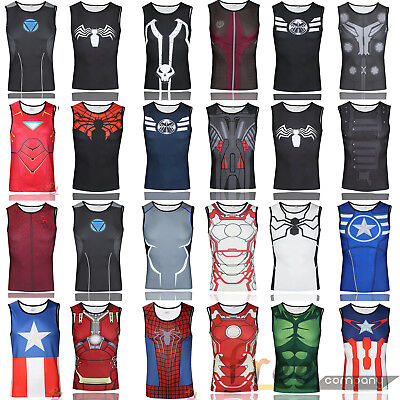 AU Mens Marvel Running Cycling Vest Base Layer Singlet Tank Tops Fitness Costume