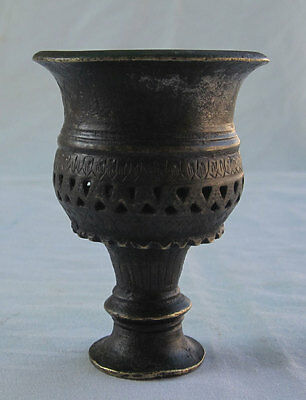 An antique old solid Brass Islamic Mughal style Hookah hukka chilam jali cutting