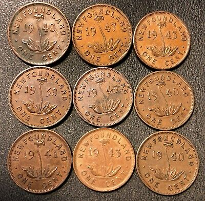 Old Newfoundland Coin Lot - 1938-1947 - RARE SMALL CENTS - 9 Coins - Lot #714
