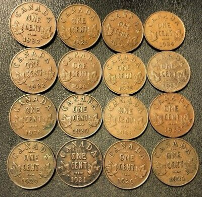 Old Canada Coin Lot - 1920-1936 - 16 SMALL CENTS - Lot #714