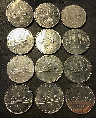 Old Canada Coin Lot - 12 AU/UNC Large Dollar Coins  - Lot #714