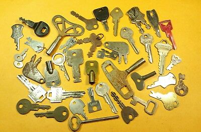 Vintage Lot of 45 Mixed metal & brass large & small key's Misc, Clock keys flat
