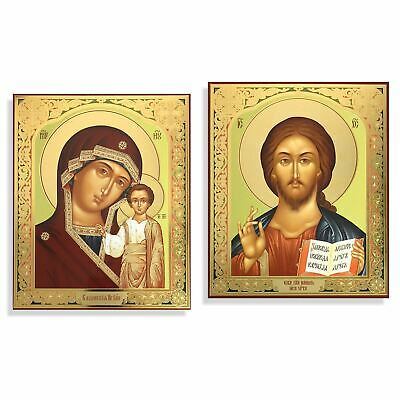 Matching Icon Set Virgin Of Kazan and Christ The Teacher Gold Foil with Hooks
