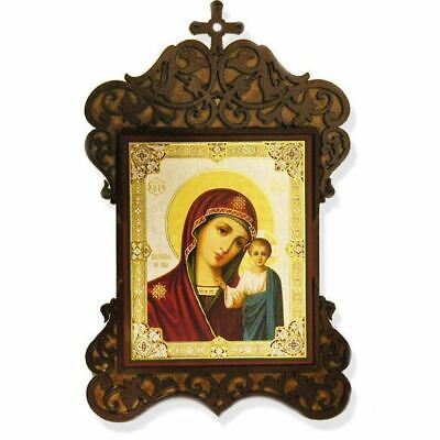 "Virgin of Kazan, Gold & Silver Foiled Orthodox Icon in Wood Shrine 9 1/2""x6"""