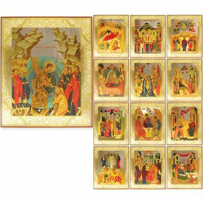 Feast Day Icon Set of 13 Orthodox Icons