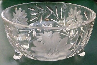 Antique/vintage.cut Crystal.daisy.cornflower.flower.footed.serving Bowl.compote