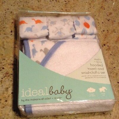 Aden + Anais New Baby Boy Hooded Towel & Wash Cloths Muslin Dinosaur Baby Shower