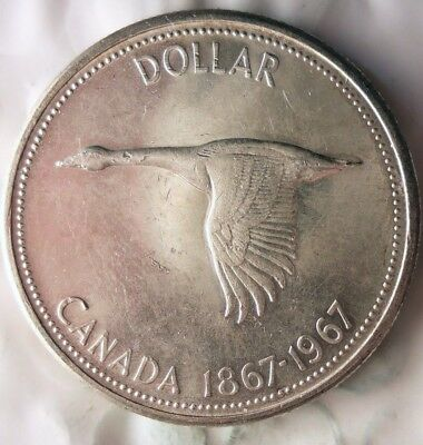 1967 CANADA DOLLAR - GOOSE - AU - Excellent Silver Crown Coin - Lot #714