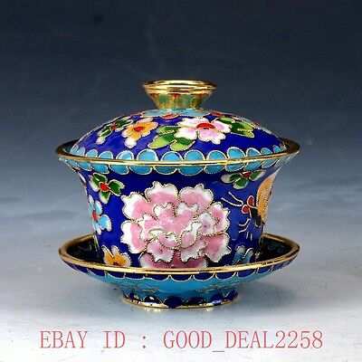 Chinese CloisonneHand drawn Flower Teacup JTL030`c