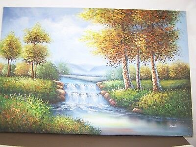 "Dante Oil Painting Waterfall Trees Canvas 36 5/8"" Tall 24 3/8"" Wide 36x24"