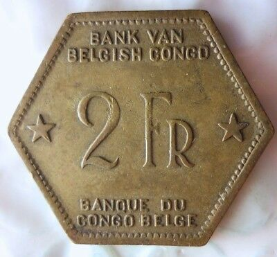 1943 BELGIAN CONGO 2 FRANCS - VERY Rare Exotic African Coin - Lot #714
