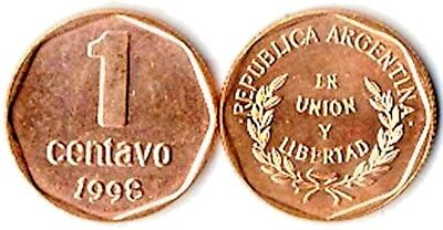 One Hundred (100) Argentina 1 Centavo Uncirculated Bronze Coins,KM 113a