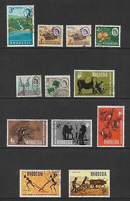 RHODESIA mixed collection No.6 pre-decimal 1965-1968, incl 1967 Nature set, used