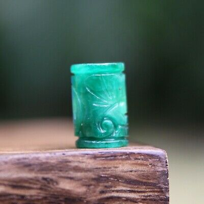 Carved Green Jade Tube Gemstone Dreadlock Bead 5mm Hole (3/16 Inch) Dread Hair