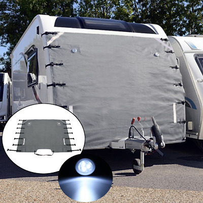 Caravan Front Towing Cover Chip Protector Universal Size Free LED Lights Grey UK