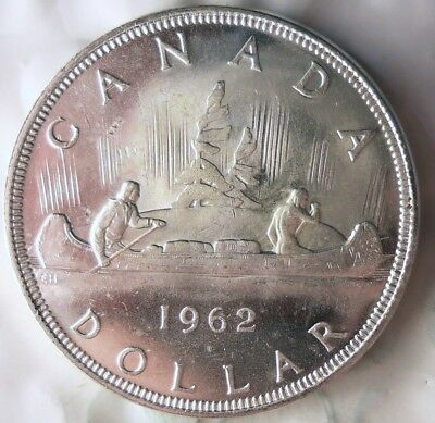 1962 CANADA DOLLAR - AU - Excellent Silver Crown - Low Mintage - Lot #714