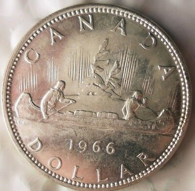 1966 CANADA DOLLAR - AU - Excellent Silver Crown - Low Mintage - Lot #714