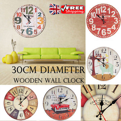 UK 30CM DIA. Wooden Vintage Wall Clock Shabby Cafe Office Art Large Watch Decor