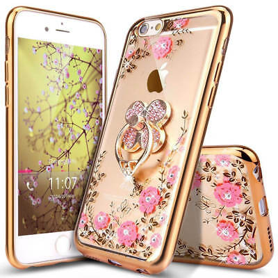 Luxury Glitter Crystal Plating Butterfly Bling Diamond Clear TPU Case Cover Ring