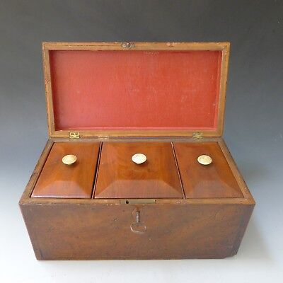 Antique 3 section locking tea caddy in mahogany veneer WITH ORIGINAL KEY
