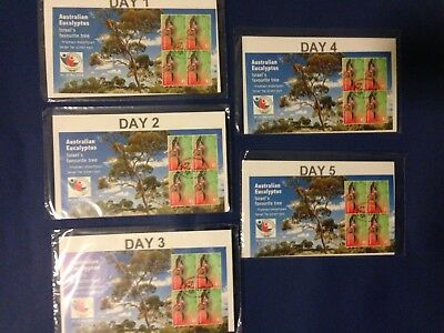 Australia 2018 Israel World Stamp Show Full Set 5 Daily Foiled Number Minisheet