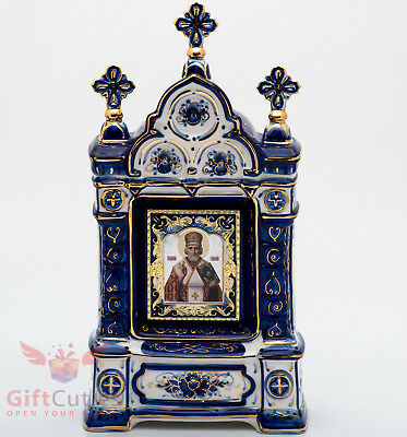 Russian Porcelain Gzhel Orthodox Shrine Kiot Icon St Nicholas Николай Чудотворец