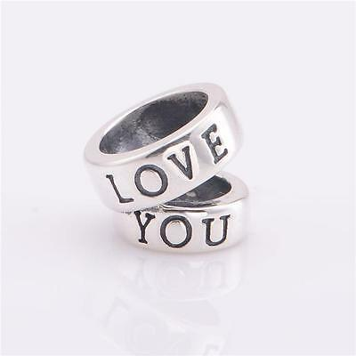 925 Sterling Silver Love You Rings Decorative Bracelet Charm Bead Gift Boxed W30