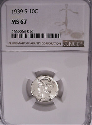 Lot of One NGC-Certified, MS67, 1939-S Silver Mercury Dime Coin: Virtually White