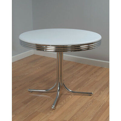 1950s Retro Dining Table Metal Chrome Dinette Round 50s Style Kitchen Dinning