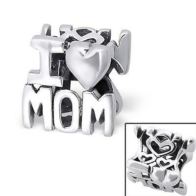 925 Sterling Silver I LOVE MOM Mothers Day Bracelet Charm Bead Gift Boxed B289