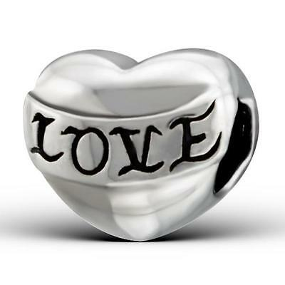 925 Sterling Silver Bubbly Love Heart Word Bracelet Charm Bead Gift Boxed B292