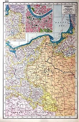 Vintage Antique Original 1920 Map Print Of Germany East & Dresden Town Plan