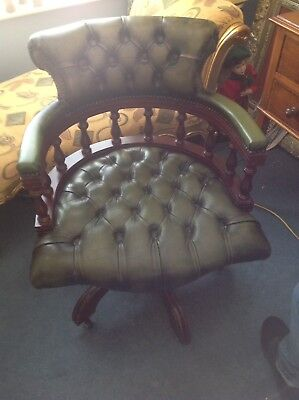A Green Chesterfield Style Captains Office Swivel Chair