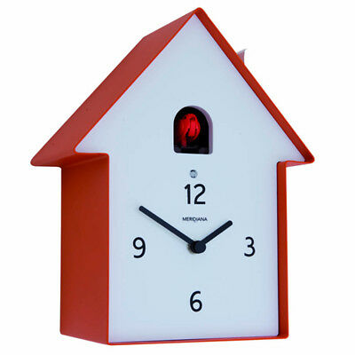 MERIDIANA 220 red Contemporary Cuckoo Wall or Mantle Clock