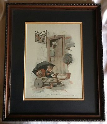 """CREAM of WHEAT - 1922 Ad - """"The Filling Station"""" - Professional Framed -Original"""