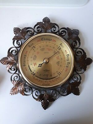 Vintage Smiths Shortland Barometer On Decorative Leaf Metal Mount