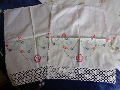 Vintage hand-embroidered chair back covers