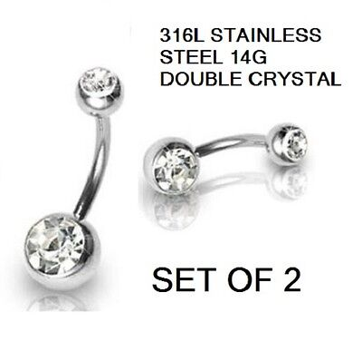 x2 DOUBLE ENDED CRYSTAL NAVEL BELLY BAR  316L STAINLESS STEEL 14 GAUGE