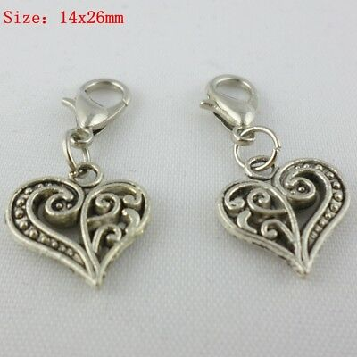 Filigree Heart Wholesale Silver Plated Pendant Charms C8736-10 20 or 50PCs