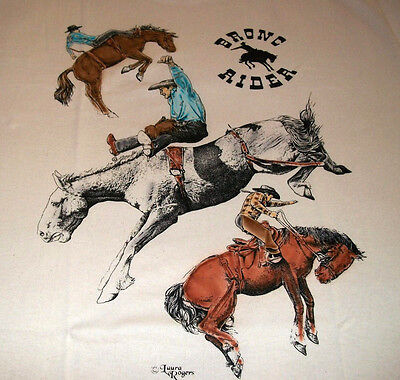 "Bronc Riders T-shirt  "" White "" 3XL ( 54 ~ 56 )"