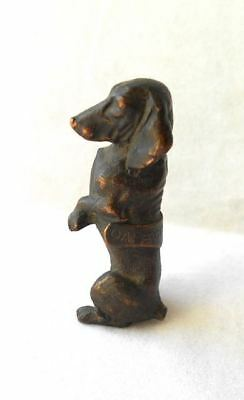 Old Small 1950s Lead Metal Dachshund Dog Figurine Shield Cape Cod Massachusetts