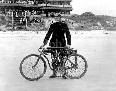 EARLY VINTAGE INDIAN BOARDTRACK RACER 8X10 PHOTO TOUGH GUY MOTORCYCLE RACING