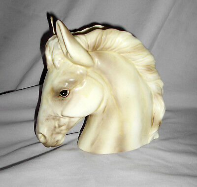 Vintage Napco Horse Head Vase /planter Cream/charcoal C5568