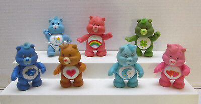7 Vintage Care Bears PVC Jointed Figures - Good Luck Grumpy Baby Tugs Cheer 1983